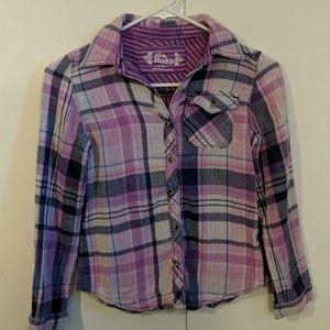 Girl's Button Down Plaid Shirt